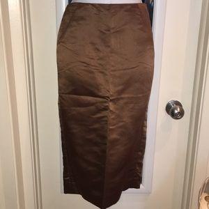 J.Crew chocolate silk pencil skirt sz0